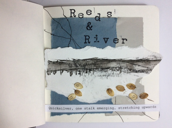 Reeds & River - Collage Sketchbook Carolyn J Roberts Artist